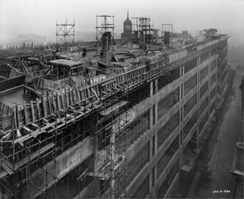 SA/BL/1/16/3 - Photograph of construction of Sainsbury's factory at Paris Gardens, Blackfriars, London (exterior), 9 Jan 1934