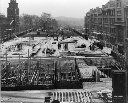SA/BL/1/16/9 - Photograph of construction of Sainsbury's factory at Paris Gardens, Blackfriars, London (exterior), 2 May 1933