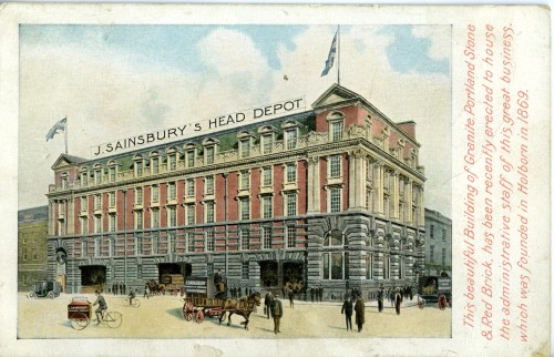 SA/BL/1/7/1 - Postcard with illustration of Sainsbury's head depot [Stamford House, London]