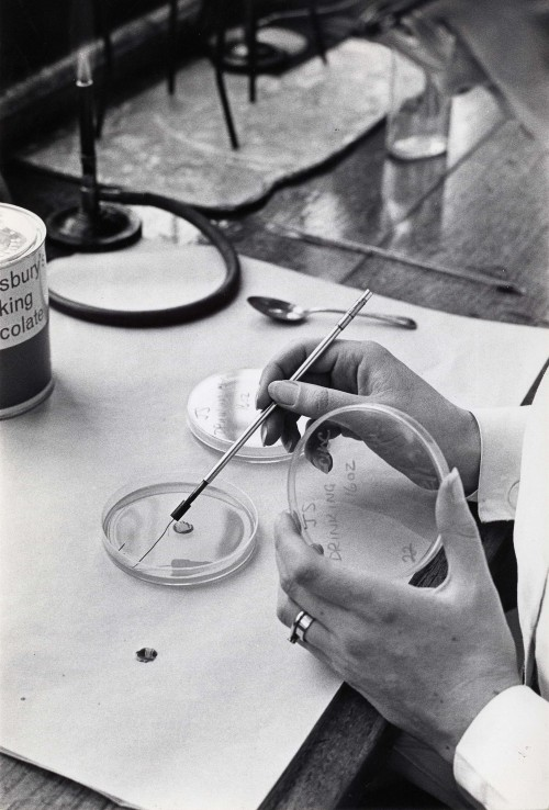 SA/BL/IMA/16/2 - Photograph of female technician testing Sainsbury's Drinking Chocolate 16oz