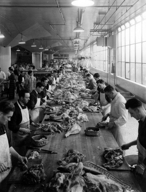 SA/BL/IMA/7/3 - Photograph of boning meat at Blackfriars factory