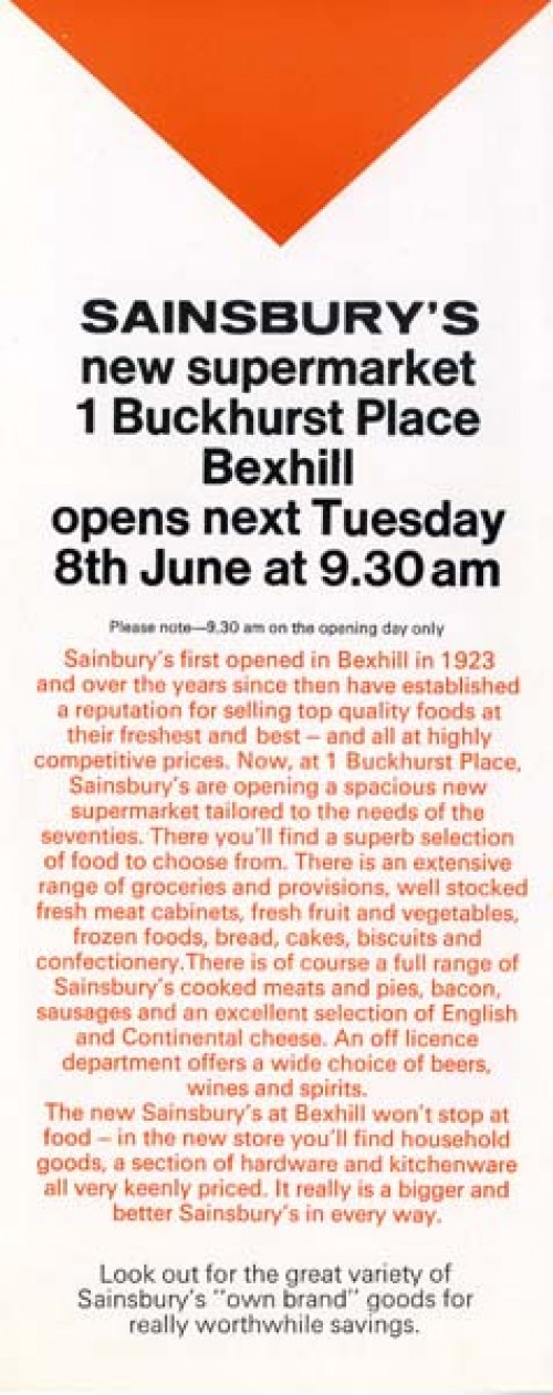 SA/BR/22/B/21/2/1 - Bexhill (1 Buckhurst Place) store opening leaflet