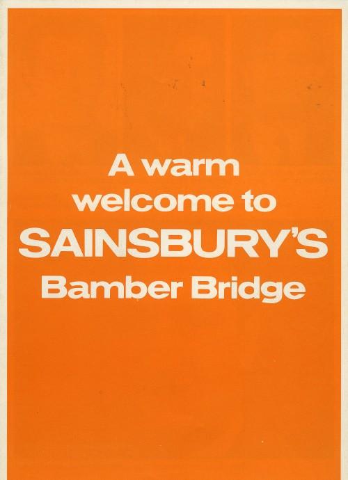 """SA/BR/22/B/3/2/2 - """"A warm welcome to Sainsbury's Bamber Bridge"""" leaflet"""