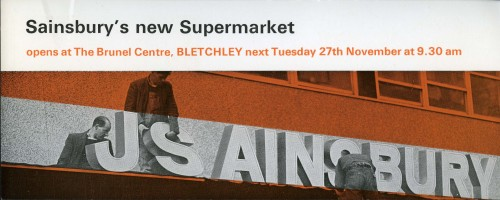 """SA/BR/22/B/31/2/1 - """"Sainsbury's new Supermarket"""" Bletchley (Brunel Centre) store opening leaflet"""