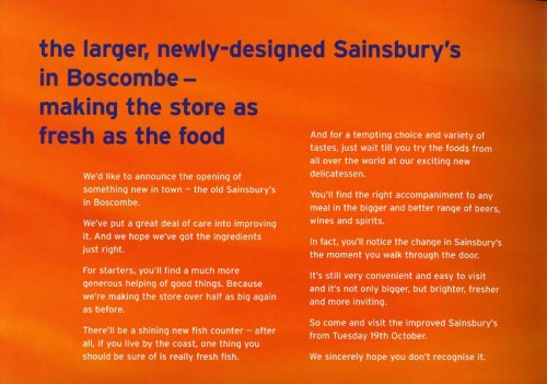 SA/BR/22/B/35/1 - Boscombe [637/641 Christchurch Road] store re-opening booklet