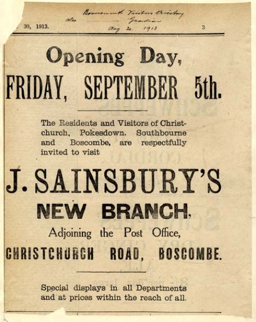SA/BR/22/B/35/2 - Boscombe [637/641 Christchurch Road] branch opening newspaper advertisement