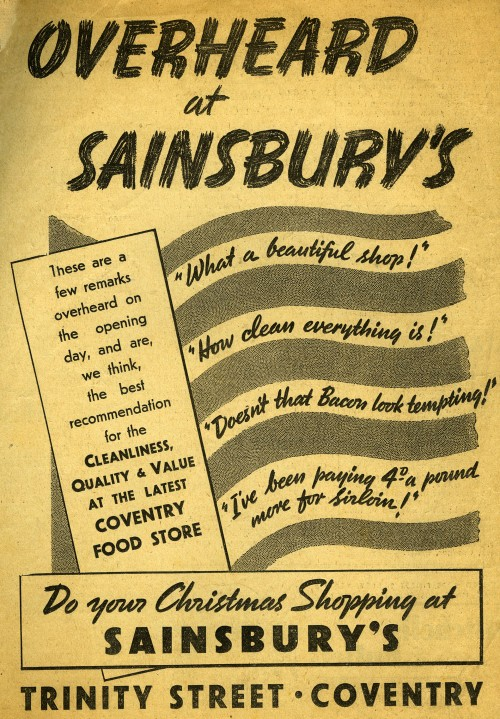 "SA/BR/22/C/44/2/3 - ""Overheard at Sainsbury's"" newspaper advertisement for Coventry (23 Trinity Street) branch, 1938"