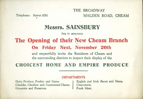 SA/BR/22/C/57/3/1 - Advertisement for opening of new Cheam branch (The Broadway, Malden Road)