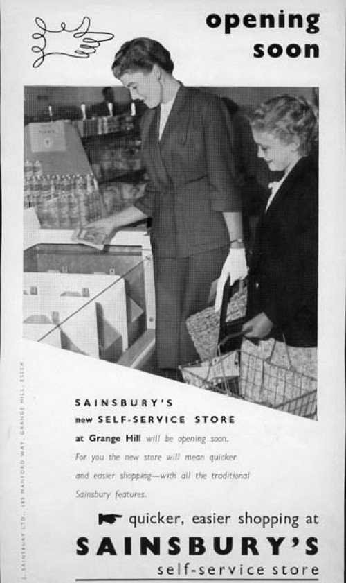 SA/BR/22/G/7/2/2 - Final proof of advertisement for new Grange Hill self service branch at 185 Manford Way. The advertisement was to be published in the Chigwell Times and Ilford Recorder, 16 Oct 1953