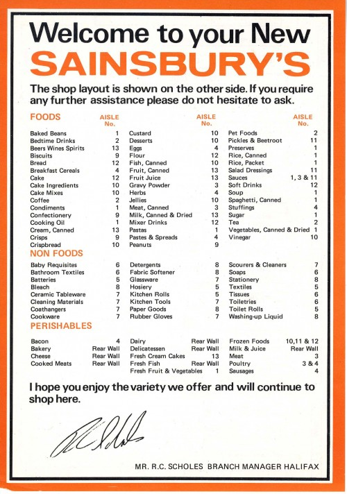 """SA/BR/22/H/3/2/2 - """"Welcome to your new Sainsbury's leaflet"""" for Halifax [29 Woolshops] store"""