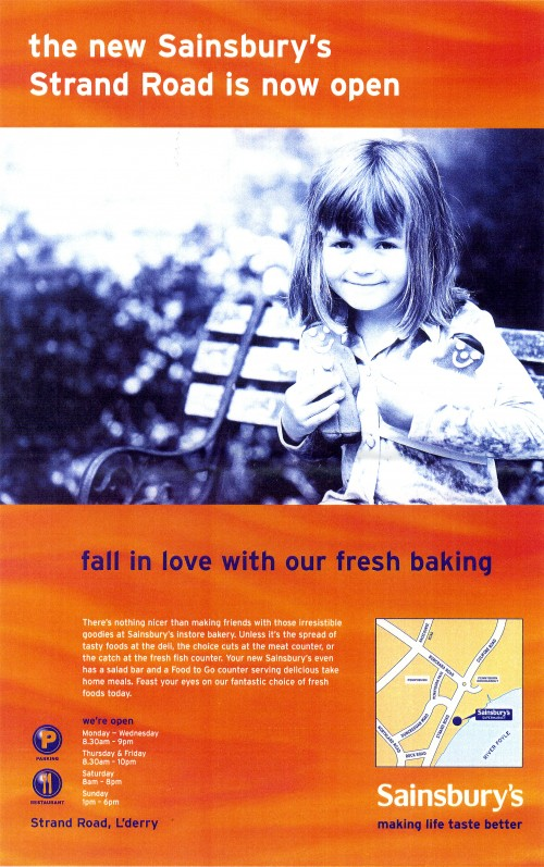 SA/BR/22/L/25/2/3 - Strand Road, Derry/Londonderry store opening poster with small girl
