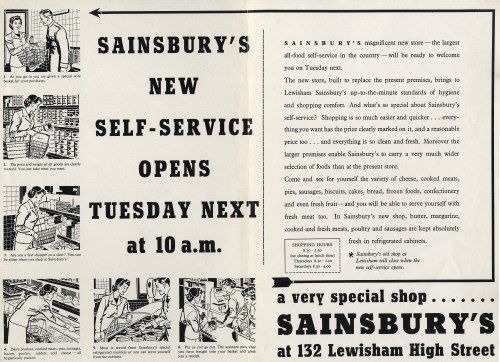 SA/BR/22/L/31/5 - Advertisement for Sainsbury's self-service store at 132 Lewisham High Street, 1955