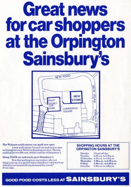 "SA/BR/22/O/3/2/1 - Advertisement for Orpington [63 The Walnuts] store ""Great news for car shoppers…"""