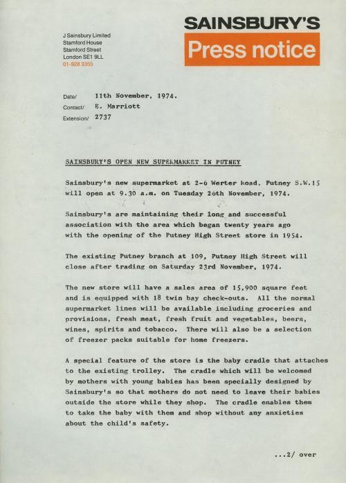 "SA/BR/22/P/20/2/1 - ""Sainsbury's open new supermarket in Putney"" (2-6 Werter Road) press release, 11 Nov 1974"