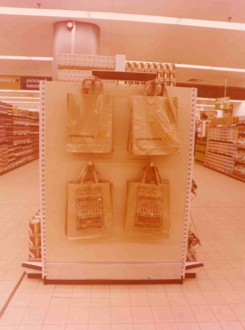 SA/BRA/4/2/2/14 - Photograph of end section of a display section (with carrier bags)