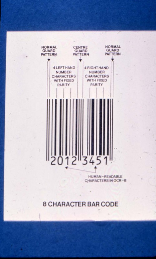 SA/BRA/4/3/5/1/3 - Slide photograph of 8 character bar code (explanatory diagram)