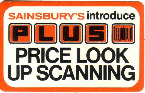 "SA/BRA/4/3/5/1/6 - ""Sainsbury's introduce PLUS Price look up scanning"" shelf edge label"
