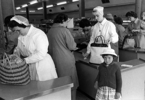 SA/BRA/5/11/11 - Photograph of customers being served at checkouts in a self-service store