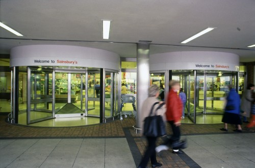 SA/BRA/7/A/11/4/11 - Photograph of entrance and exit doors, Bybrook, Ashford store, 1992