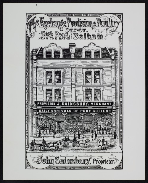 "SA/BRA/7/B/1/1/1 - Image of the exterior of 87/89 High Road, Balham branch for ""The Exchange Provision and Poultry Depot"" poster"