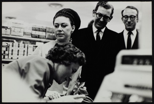 SA/BRA/7/B/1/3/20 - Image of Princess Margaret with JD Sainsbury and Simon Sainsbury visiting Balham High Road, Balham branch