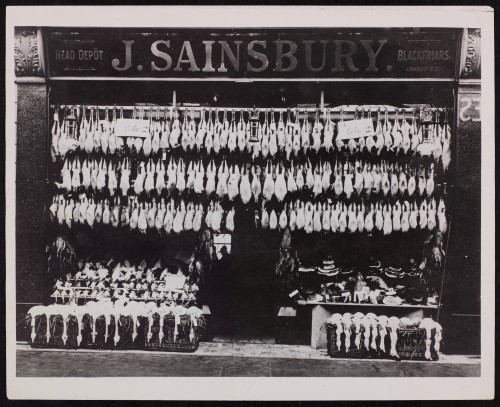SA/BRA/7/B/31/3/4 - Image of exterior of 639 Christchurch Road, Boscombe branch, display of poultry or game hanging up outside shop