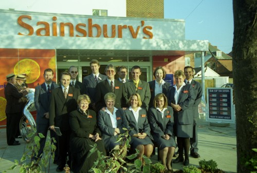 SA/BRA/7/B/31/3/54 - Image of staff outside 637/641 Christchurch Road, Boscombe branch