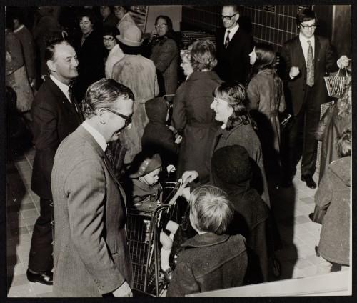 SA/BRA/7/B/37/1/6 - Image of John Davan Sainsbury greeting customers at 47/57 Eastover, Bridgwater branch