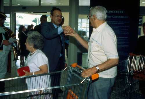 SA/BRA/7/B/39/3/144 - Image of Castle Court, Bristol (Club Store) store on opening day: David Sainsbury greeting customers