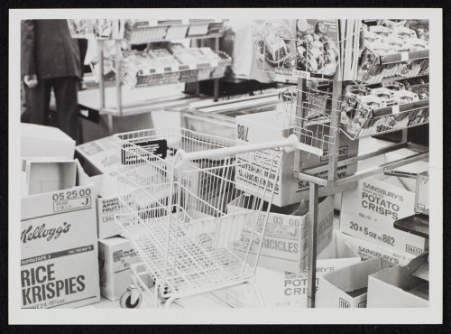 SA/BRA/7/B/6/2/66 - Image of a shopping trolley at the checkout area at Pitsea Centre, Basildon branch