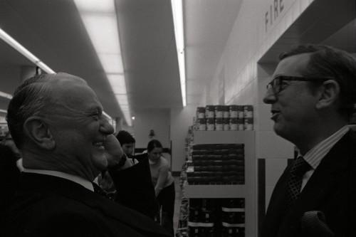 SA/BRA/7/C/4/2/72 - Image of Cambridge (44 Sidney Street) opening day: A.E. Snow talking to J.D. Sainsbury