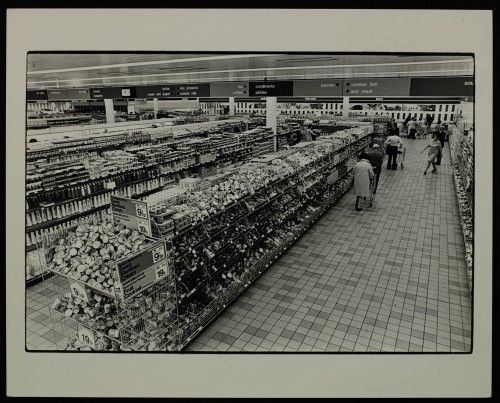 SA/BRA/7/C/4/3/61 - Image of Cambridge Coldhams Lane store interior: general view of aisles (elevated)