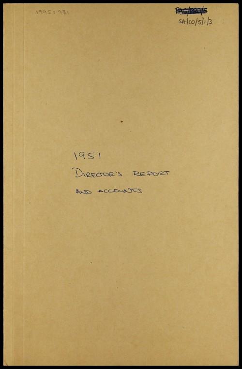 SA/CO/5/1/3 - Directors' report and accounts 1951