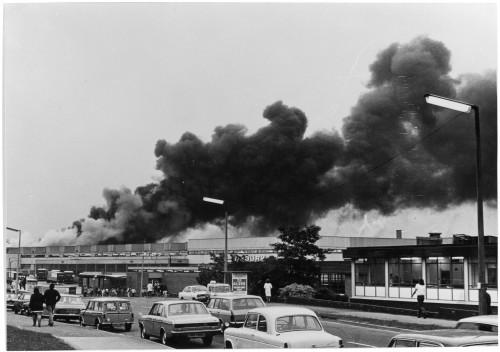 SA/DEP/2/4/1/10 - Photograph of smoke from fire at Basingstoke Depot