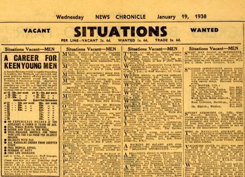 SA/EMP/1/33 - 'A career for keen young men' newspaper advert
