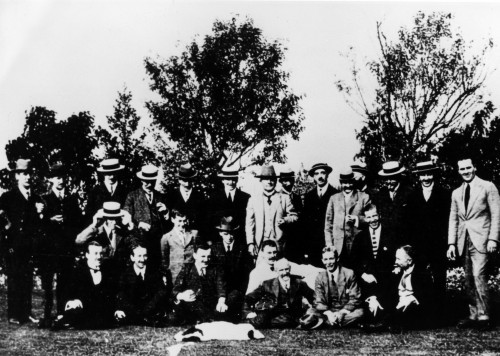 SA/EMP/SOC/1/IMA/5/1 - Photograph of John James Sainsbury (centre) and Sainsbury's staff on a summer outing, c.1920