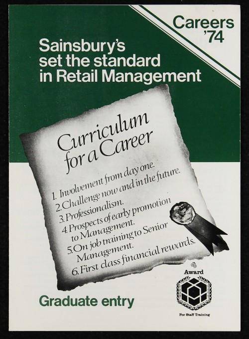 "SA/EMP/1/1/10/1 - ""Sainsbury's set the standard in Retail Management"" graduate recruitment leaflet, 1974"