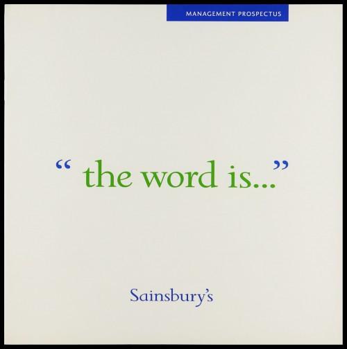 "SA/EMP/1/1/12/10 - Management prospectus ""the word is..."" recruitment brochure"