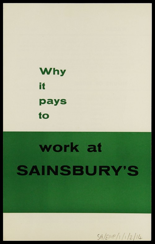 "SA/EMP/1/1/2/14 - ""Why it pays to work at Sainsbury's"" recruitment leaflet (PROV A/S/S version)"