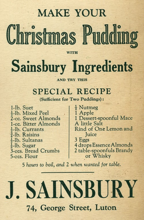 "SA/MARK/ADV/1/1/1/1/1/10/11 - ""Make Your Christmas Pudding With Sainsbury Ingredients"" advertisement for 74 George Street, Luton branch"
