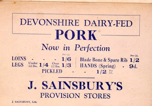 "SA/MARK/ADV/1/1/1/1/1/13/134 - ""Devonshire Dairy-Fed Pork"" advertisement"
