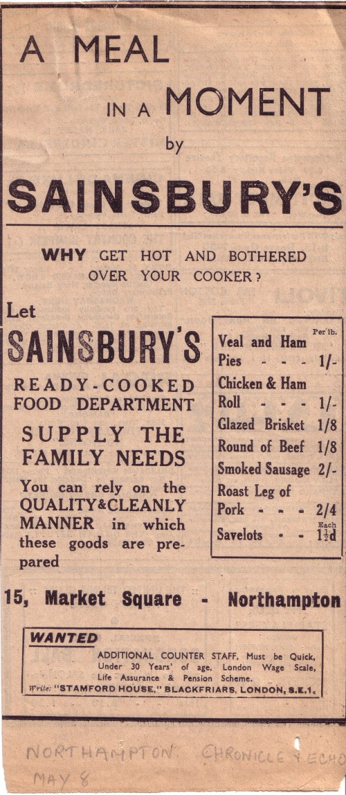"""SA/MARK/ADV/1/1/1/1/1/16 - """"A meal in a moment by Sainsbury's..."""" newspaper advertisements, [c.1930s]"""