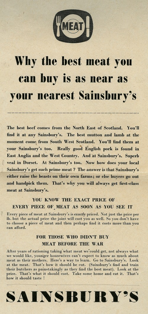 """SA/MARK/ADV/1/1/1/1/1/19/1 - """"Why the best meat you can buy is as near as your local Sainsbury's"""" proof of advertisement, Sep 1954"""