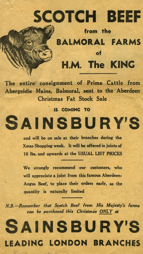 """SA/MARK/ADV/1/1/1/1/1/19/9 - """"Scotch Beef from the Balmoral Farms of H.M. The King"""" advertisement"""