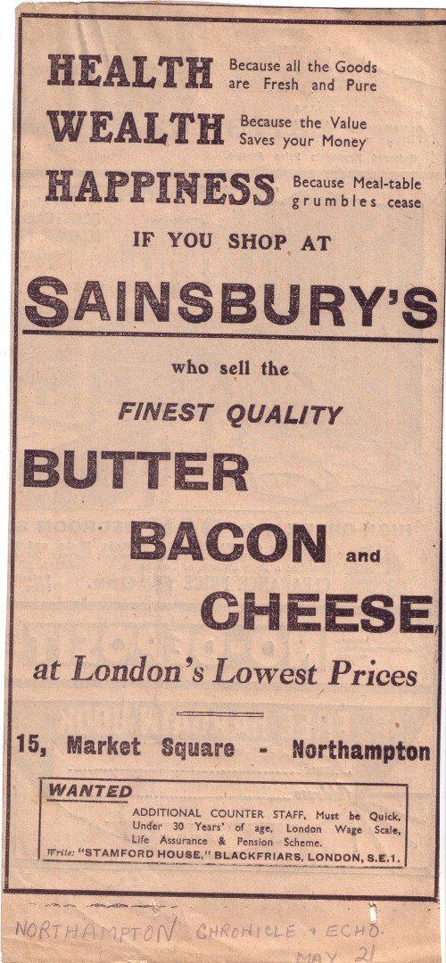 """SA/MARK/ADV/1/1/1/1/1/22 - """"Health Because all the Goods are Fresh and Pure..."""" newspaper advertisement, [1936-1947]"""