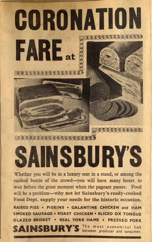 """SA/MARK/ADV/1/1/1/1/1/24/11 - """"Coronation Fare at Sainsbury's"""" advertisement in Evening News 6 May 1937"""