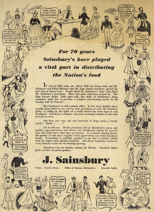 SA/MARK/ADV/1/1/1/1/1/6/19/1 - 'For 70 years Sainsbury's have played a vital part in distributing the Nation's food' advert, 1939