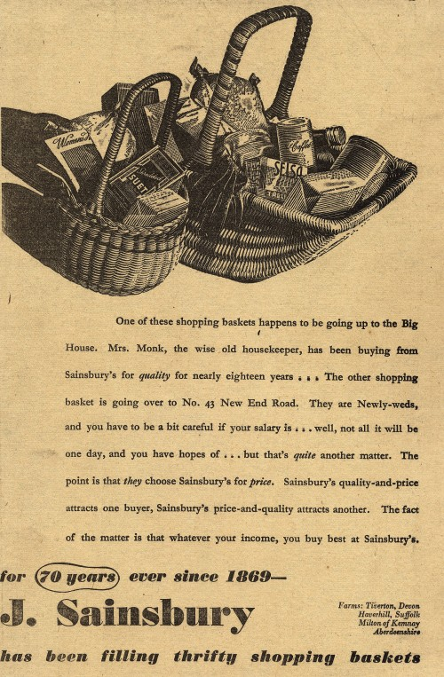 SA/MARK/ADV/1/1/1/1/1/6/19/22 - 'For 70 years ever since 1869 - J. Sainsbury has been filling thrify shopping baskets' advert, 1939