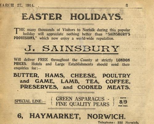 """SA/MARK/ADV/1/1/1/1/1/6/2/3 - """"Easter Holidays"""" newspaper advert, 1914"""