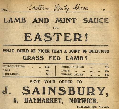 """SA/MARK/ADV/1/1/1/1/1/6/2/5 - """"Lamb and Mint Sauce for Easter!"""" newspaper advert from The Eastern Daily Press"""